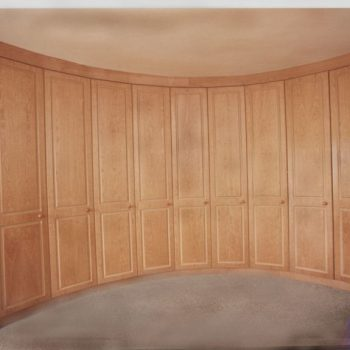 Curved wooden wardrobes